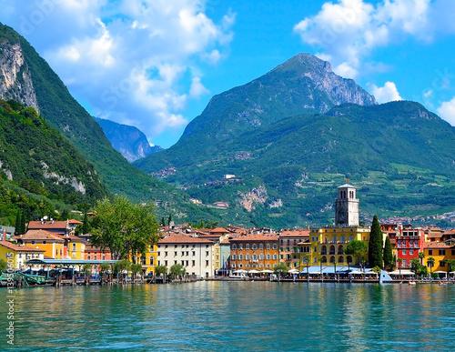 Beautiful view of Riva del Garda, Lake Garda, Italy Wall mural