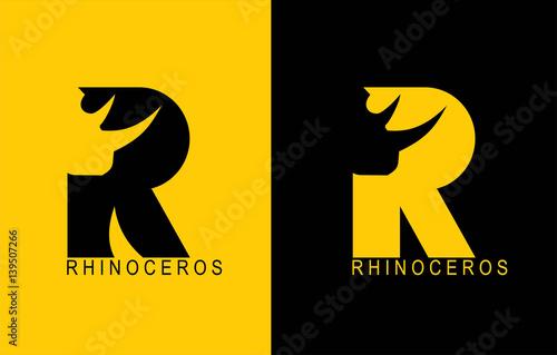 Photo  R. Rhinoceros typhography. Rhino. Rhinoceros. R alphabet.