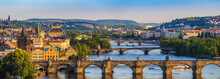 Prague City Skyline Panorama And Charles Bridge, Prague, Czech Republic