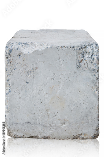 Photo cement block isolated on white background. Clipping path