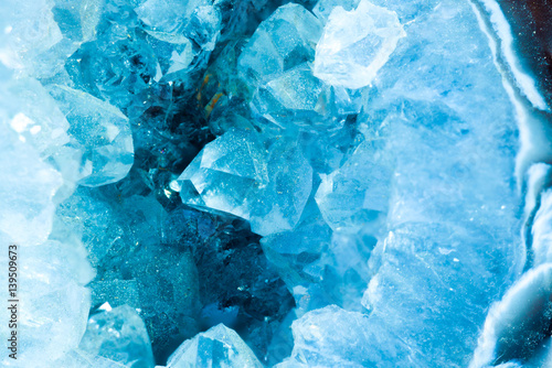 cross section slice detail macro of a aquamarine color geode Wallpaper Mural