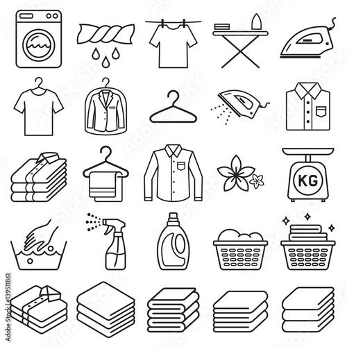 Fotografie, Obraz  laundry service icons. Vector illustrations.