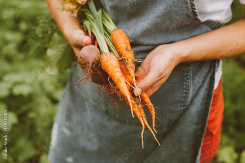 Photo  Young Girl with Farm Fresh Vegetables