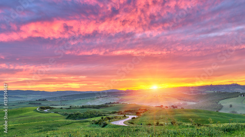 Foto op Aluminium Koraal Beautiful Tuscany landscape at sunrise, Italy