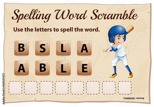 Fotografie, Obraz  Spelling word game with word baseball