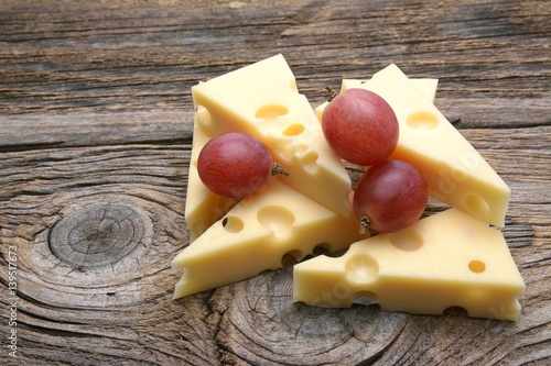 Emmental cheese on the cutting board
