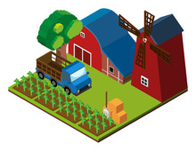 3D Design For Farm Scene With Barns And Crops