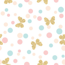 Gold Glittering Butterflies Seamless Pattern On Pastel Colors Confetti Round Dots Background.