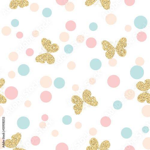 gold-glittering-butterflies-seamless-pattern-on-pastel-colors-confetti-round-dots-background