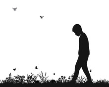 Isolated Silhouette Of A Sad Boy