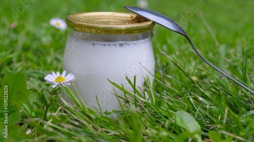 Staande foto Zuivelproducten cure santé, mangez des yaourts !