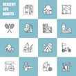 Healthy lifestyle habits black and white line vector icons. Proper nutrition fruit vegetables water seafood. Physical activity sport outdoor exercise fitness. Rest and hobby sleep reading spa.