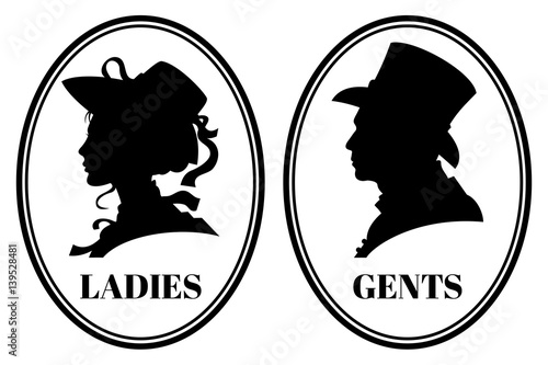 Fotomural  Vintage toilet wc vector sign with lady and gentleman head in victorian hats and