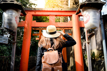 Turist je u posjeti vratima Torii u parku Ueno, Tokio, Japan.