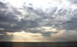 Beautiful tropical sunset beach , silhouette over the sea,