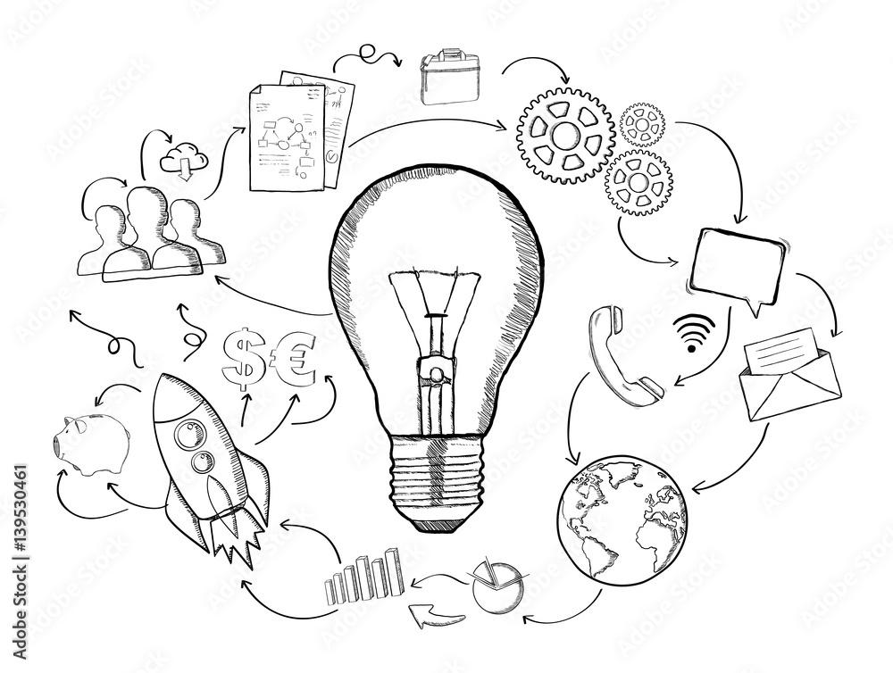 Fototapety, obrazy: Hand drawn lightbulb with multimedia icons flying around