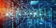 Leinwandbild Motiv Abstract network on server room data center 3D rendering