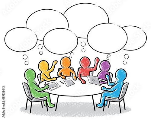 Farbige strichm nnchen team besprechung am runden tisch for Runder tisch mit marmorplatte