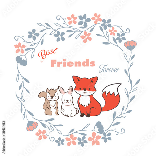Doodle Set Of Best Friends Forever Cute Fox Rabbit And Squirrel In