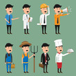 Cartoon character of occupation vector illustration. engineering. technician. doctor. marketing. farmer. business man.