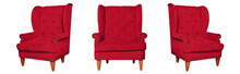 Textile Classic Red Chair Isolated On White Background. View From Different Sides - Front And Two Side Views