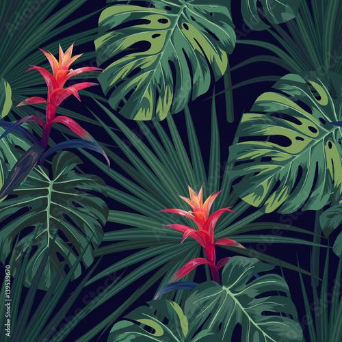 egzotyczny-tropikalny-tlo-z-hawajskimi-roslinami-i-kwiatami-bezszwowy-wektoru-wzor-z-zielonymi-monstera-i-sabal-palmowymi-liscmi-guzmania-kwiaty