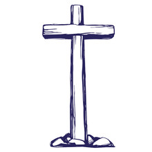 Christian Wooden Cross. Easter . Symbol Of Christianity Hand Drawn Vector Illustration Sketch