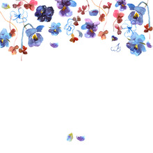 Background With Watercolor Pansies. Invitation. Wedding Card. Birthday Card.