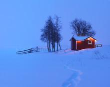 Snow-covered Scandinavian House.