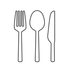 Fork Spoon And Knife Outline V...