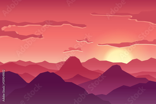 Fototapety, obrazy: Abstract image of a sunset, the dawn sun in the mountains