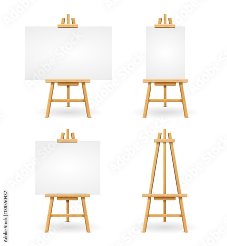 Photo  Wooden Easel or Painter Desk. Vector