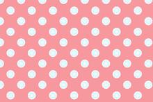 Pink Polka Dot Background With Blue Flower Inside.