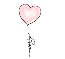 Sorry. Handwritten Black Text And Hand Draw Balloon Heart On White Background, Vector
