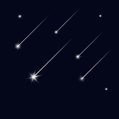 Falling stars on black sky. Shooting star. Light of falling meteorite in the galaxy. Vector  cosmos illustration.