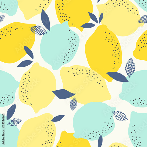 fototapeta na drzwi i meble seamless pattern with citrus fruits