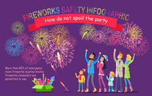 Fireworks Safety Infographic. People Look At Sky