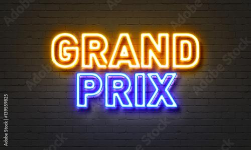 Fotografía  Grand prix neon sign on brick wall background.