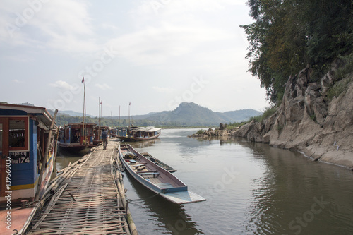 Tuinposter Pier Boats on the Mekong River. Laos