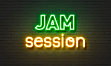 Jam Session Neon Sign On Brick Wall Background.