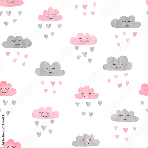 Seamless pattern with watercolor clouds and rain of hearts Slika na platnu