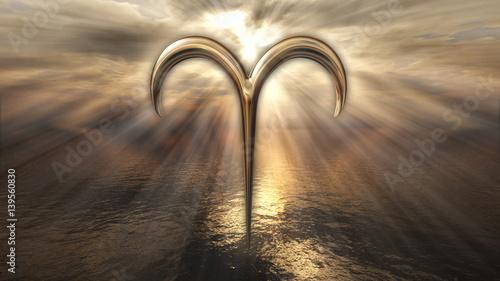 Photo Mystic golden zodiac horoscope Aries symbol. 3D rendering