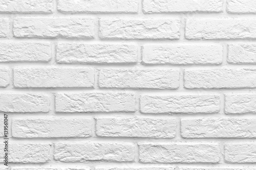 Poster Brick wall Abstract weathered texture stained old stucco light gray white brick wall background, grungy blocks of stonework technology color horizontal architecture wallpaper
