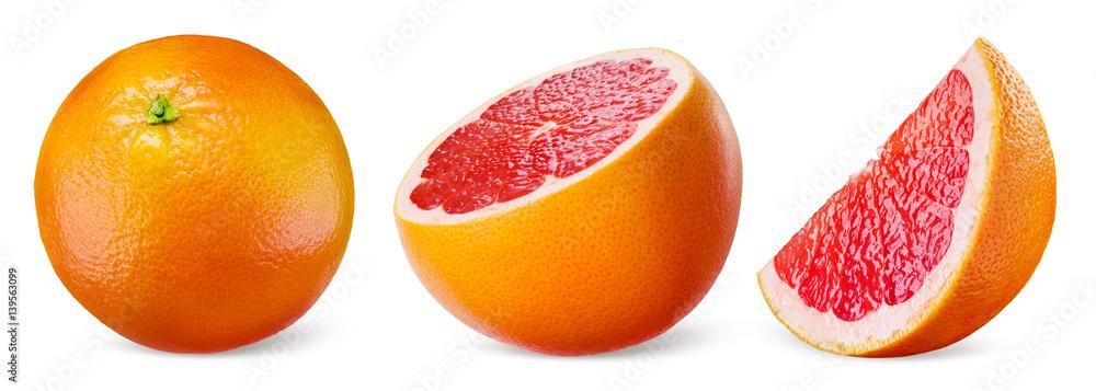 Fotografie, Obraz Grapefruit isolated on white background. Collection