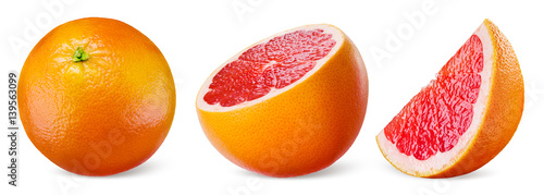 Grapefruit isolated on white background. Collection