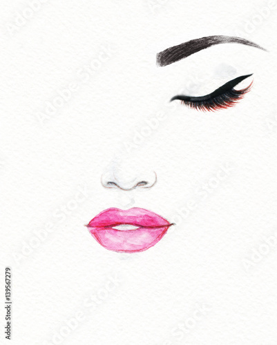 Canvas Prints Watercolor Face Woman face. Fashion illustration. Watercolor painting