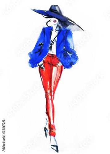 Poster Portrait Aquarelle Runway. Fashion illustration. Watercolor painting