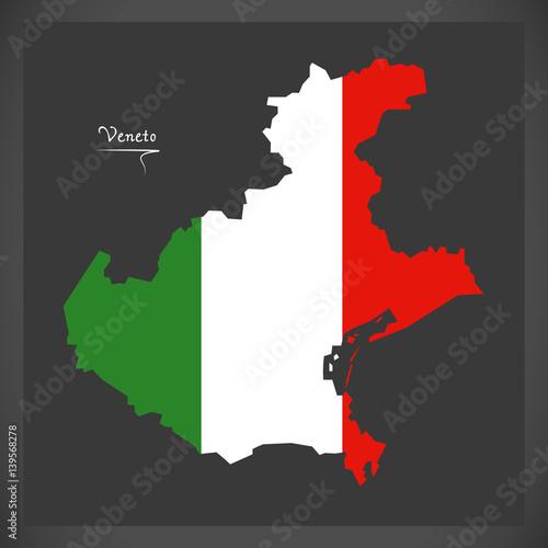Fotografie, Obraz  Veneto map with Italian national flag illustration
