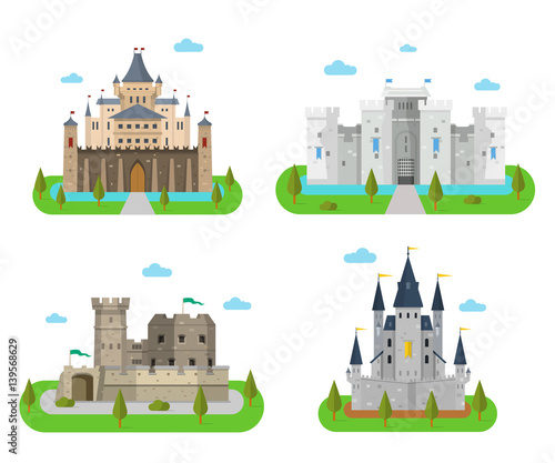 Poster Turquoise Medieval castles, fortresses, forts and bastions in the flat sty