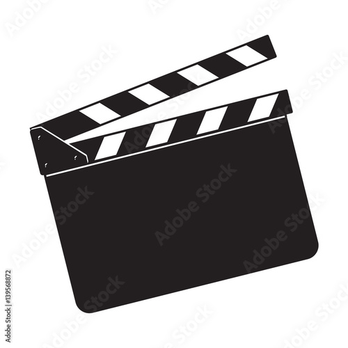 Photo Blank cinema production black clapper board, sketch style vector illustration isolated on white background